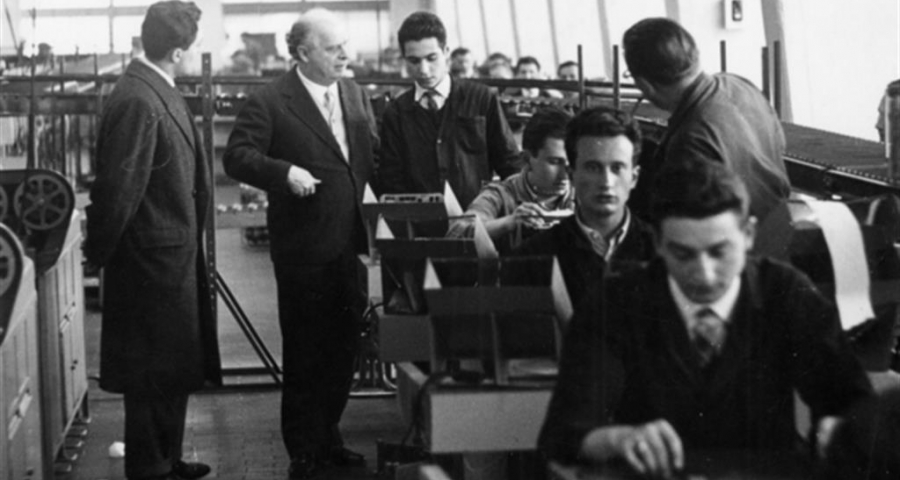 Adriano Olivetti with workers.