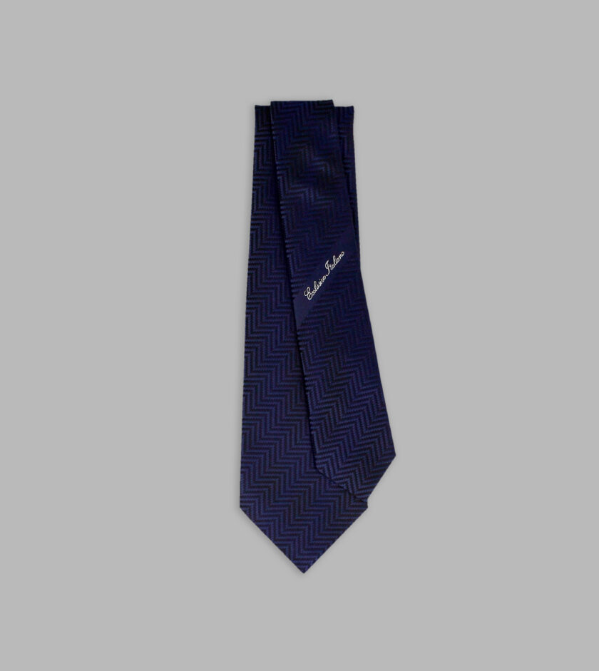 marine blue jacquard necktie