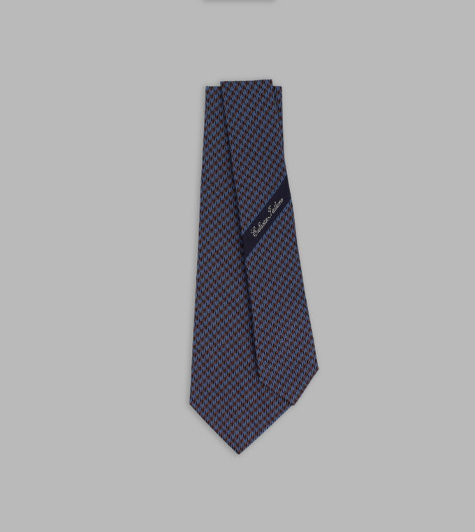 houndstooth blue and brown necktie