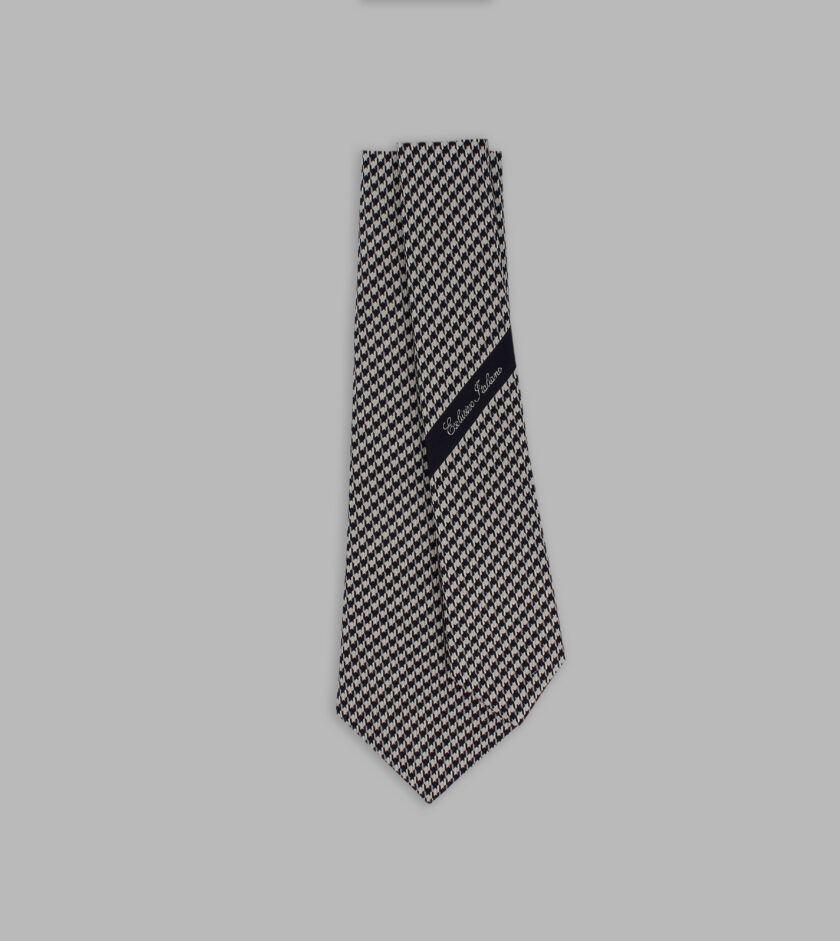 houndstooth off white and blue necktie