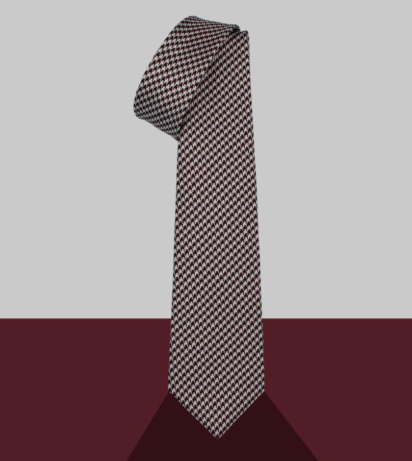 cravatta pied de poule blu rosso granata
