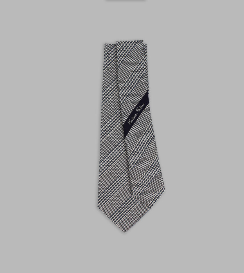 prince of wales motif midnight blue necktie