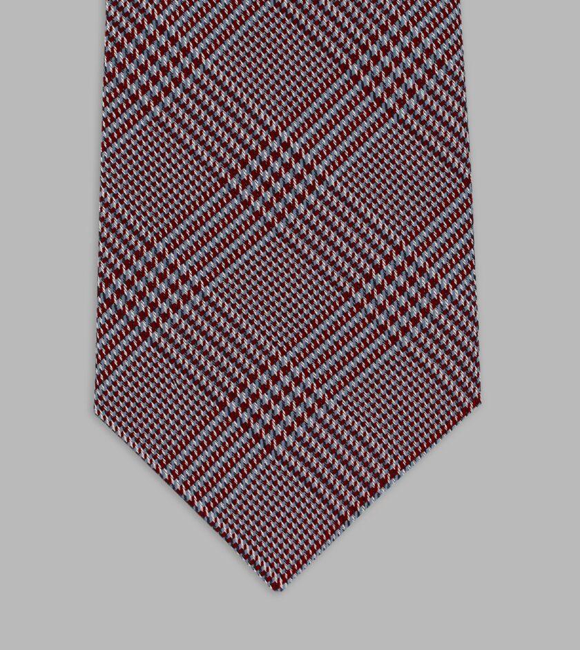 prince of wales motif burgundy necktie