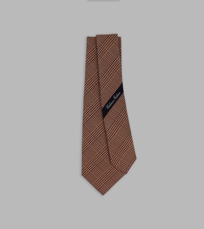 prince of wales motif warm brown necktie
