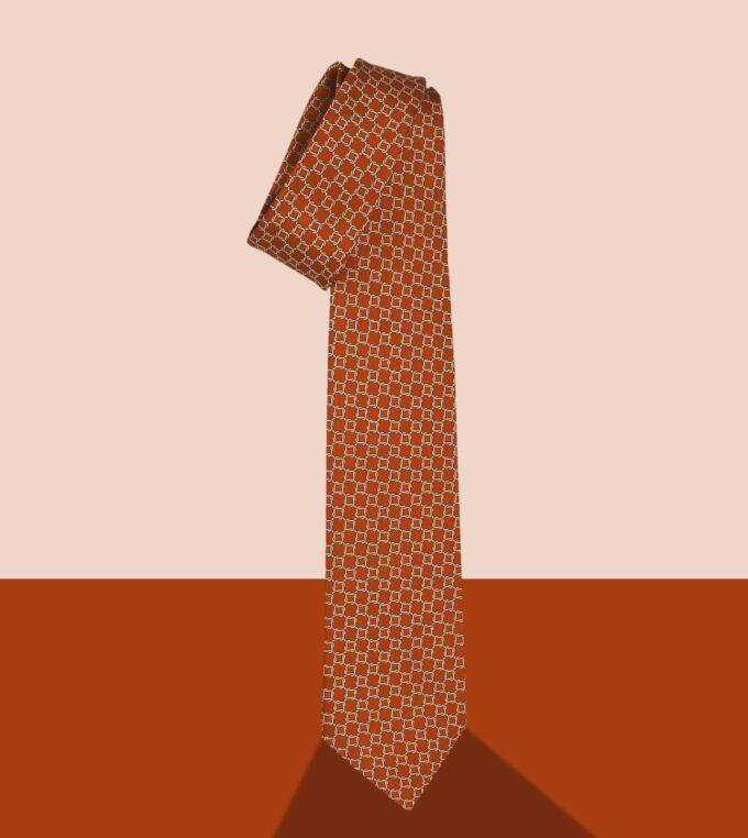 cravatta jacquard arancione
